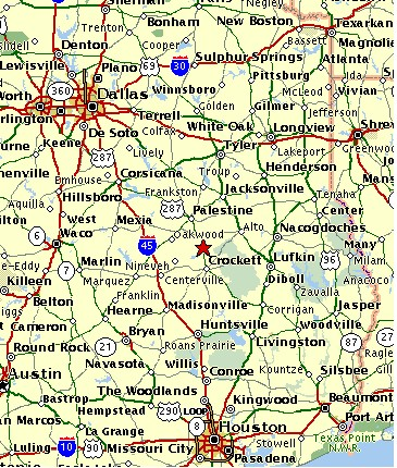 Map Buck N Boar Outfitters - East texas map